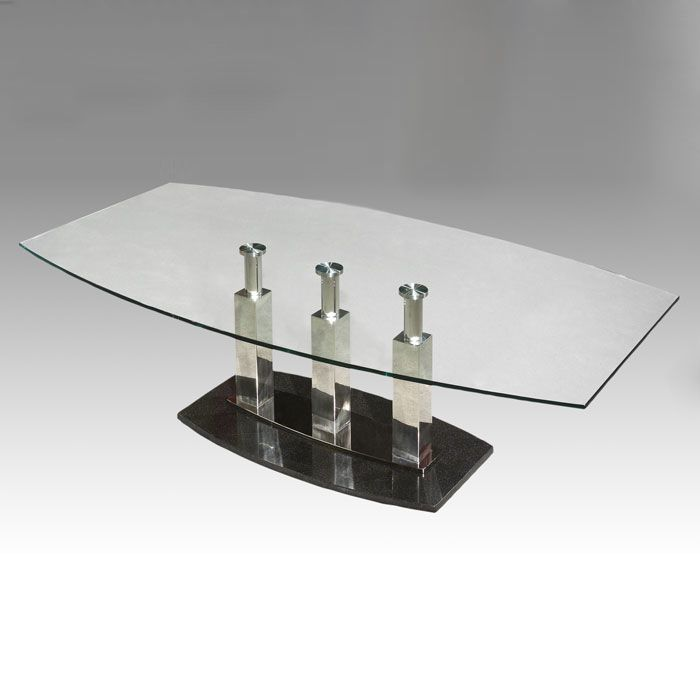 Cilla Cocktail Table with Stainless Steel Columns