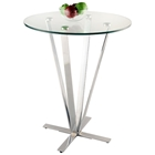 Cortland Pub Table - Round Glass, Chrome