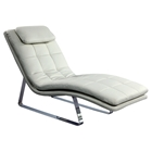 Corvette Chaise Lounge - Bonded Leather, White