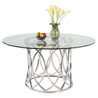 Courtney Round Dining Table - Clear Top, Shiny Stainless Steel
