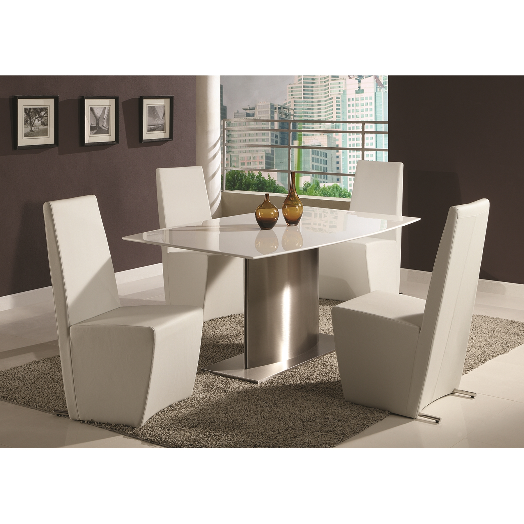 Cynthia Boat-Shaped Marble Top Dining Set - CI-CYNTHIA-DT-5-PC-X-SET