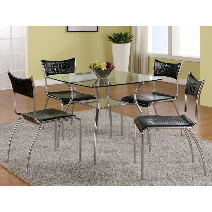 Daisy Contemporary Dining Set with Square Glass Table