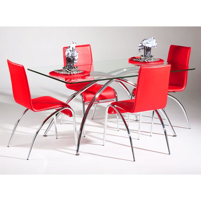 Elaine 5 Piece Contemporary Dining Set in Red