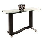 Fenya Rectangular Sofa Table - Glass Top, Black and Chrome Base
