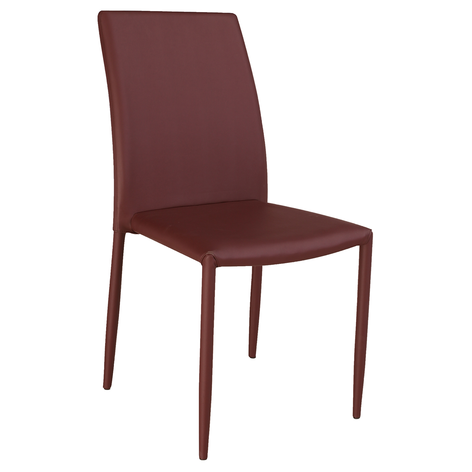 Fiona Stackable Side Chair - Burgundy Faux Leather (Set of 4)