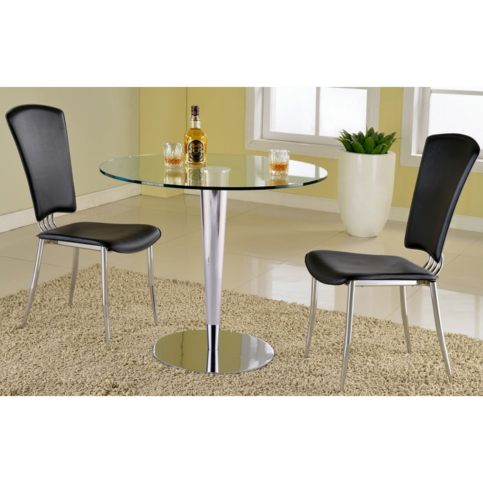 Grand Contemporary Dining Table - Round Glass Top, Chrome Base - CI-GRAND-DT
