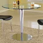 Grand Contemporary Pub Table - Round Glass, Chrome