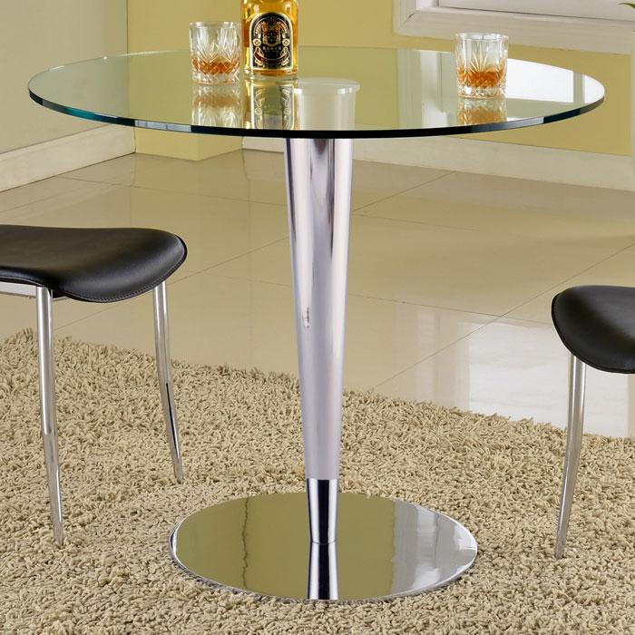 Grand Contemporary Dining Table - Round Glass Top, Chrome Base