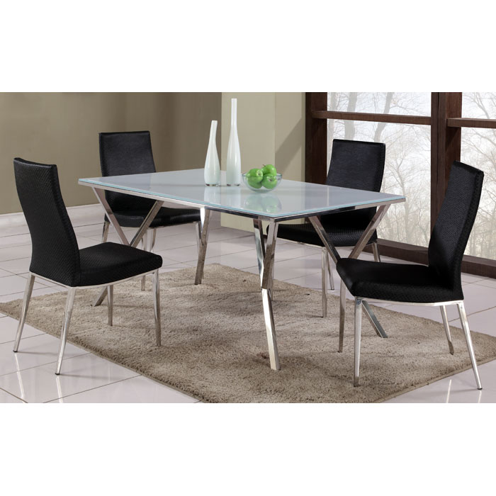 Jamila 5 Piece Dining Set with Black Chairs - CI-JADE-JAMILA-5-PC-SET