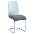 Jane Contour Back Side Chair - Faux Leather, White and Gray (Set of 4)