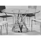 Janet Round Dining Table - Clear Glass Top, Stainless Steel Base