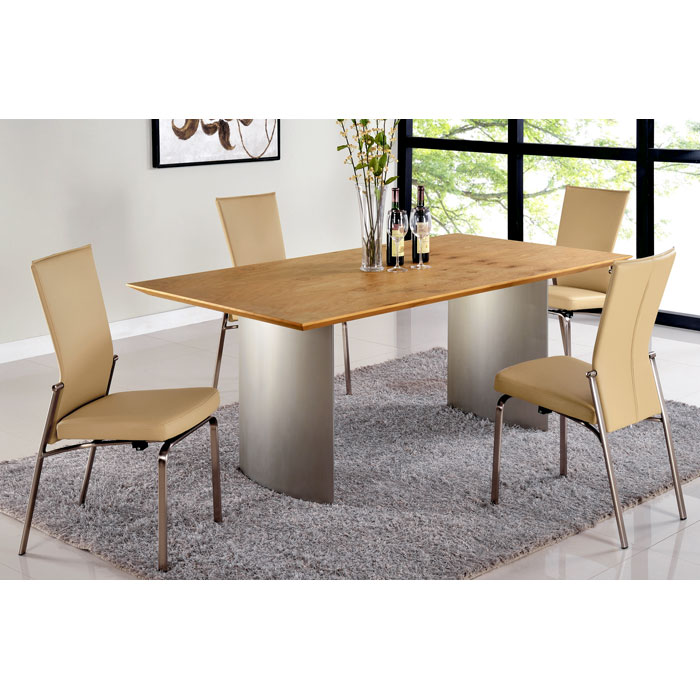 Jessica 5 Piece Contemporary Dining Set - Beige Chairs