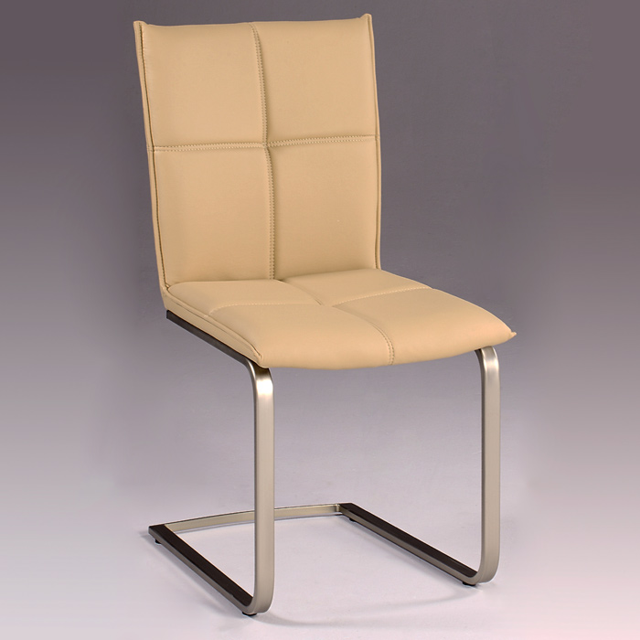 Jessica Side Chair - Khaki Upholstery, Cantilever Base