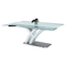 Jillian Dining Table - Glass Top, Brushed Stainless Steel and White - CI-JILLIAN-DT
