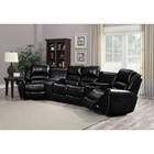 Laredo 3 Pieces Home Theater Seating - Bonded Leather, Black