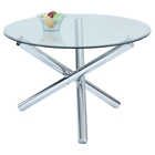 Leatrice Round Dining Table - Glass Top, Chrome Base