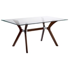 Luisa Wood Dining Table - Clear Glass Top, Rectangular