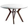 Luisa Wood Dining Table - Clear Glass Top, Round