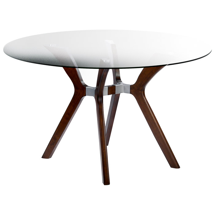 Luisa Wood Dining Table - Clear Glass Top, Round - CI-LUISA-DT-RND