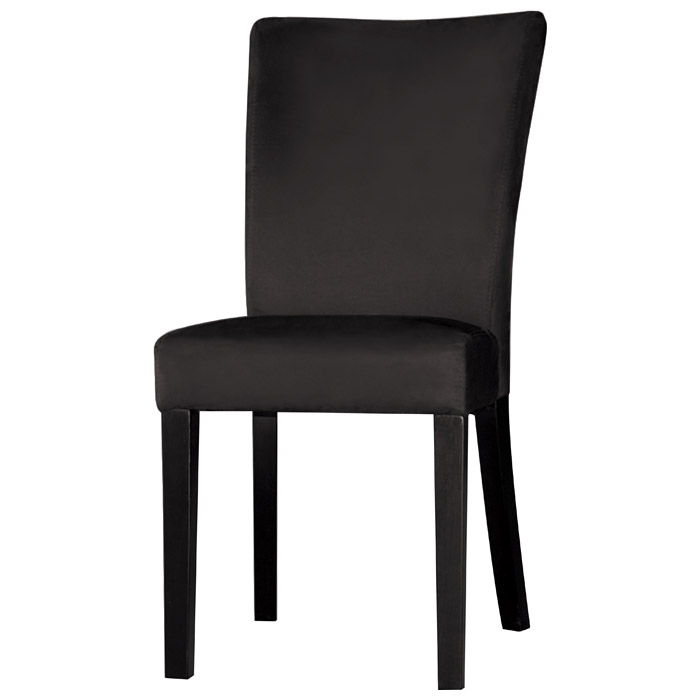 Monica Parsons Chair - Satin Black Legs, Black Microfiber