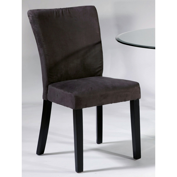 Monica Parsons Chair - Satin Black Legs, Gray Microfiber