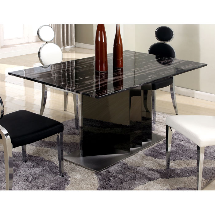 Oprah 5 Piece Contemporary Dining Set - Marble Top Table - CI-OPRAH-5-PC-SET