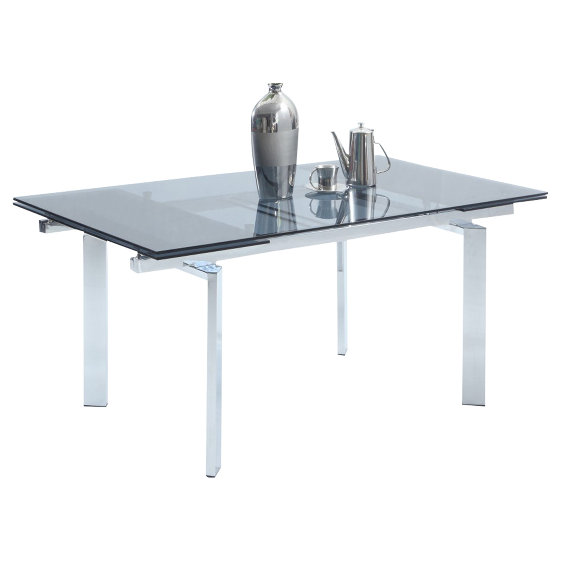 Paisley Extension Dining Table - Glass Top, Chrome Base
