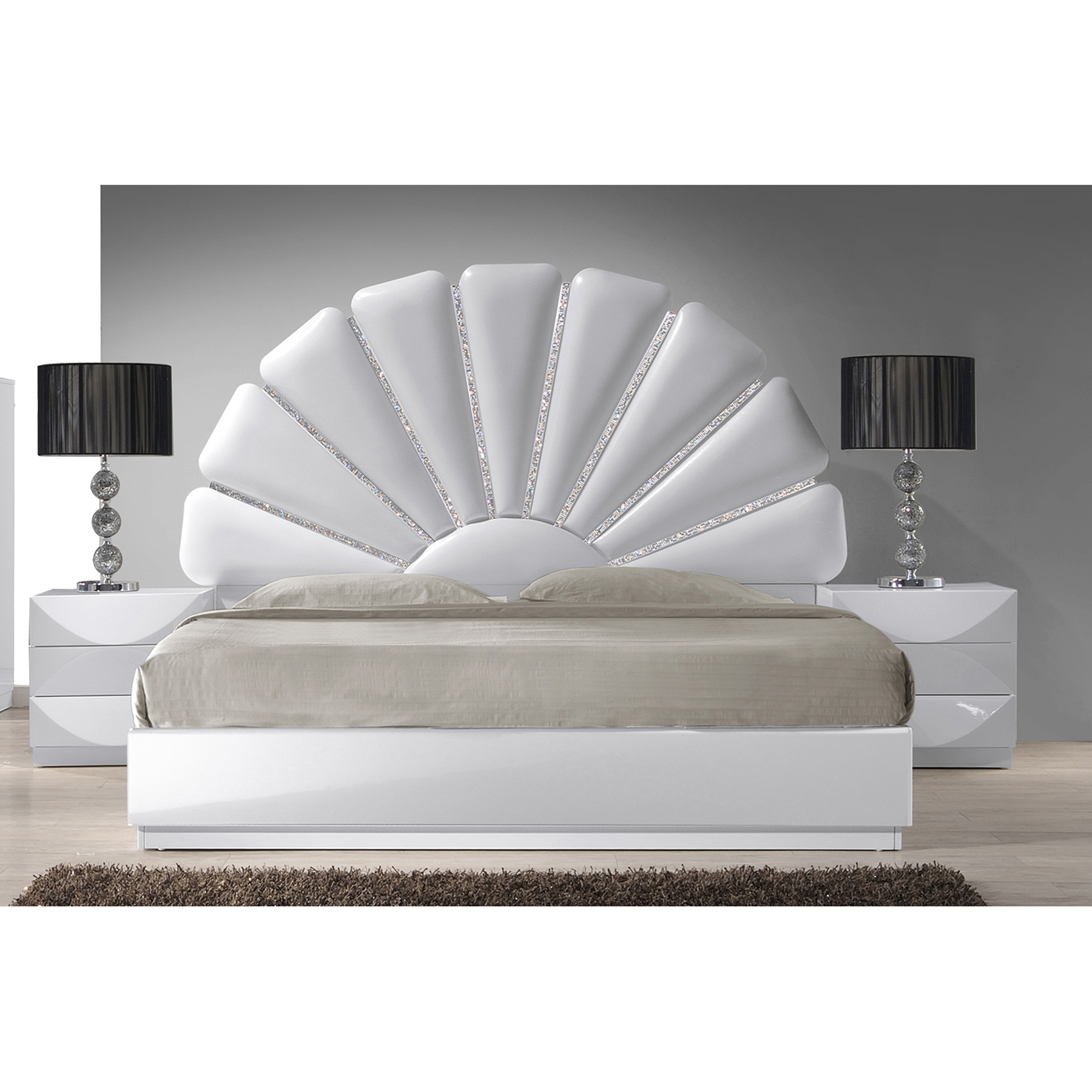 Paris Platform Bed - Gloss White - CI-PARIS-BED