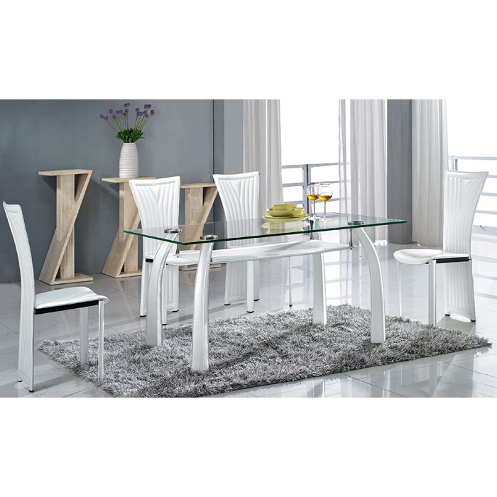 Ramona 5 Piece Dining Set - White, Glass Top Table