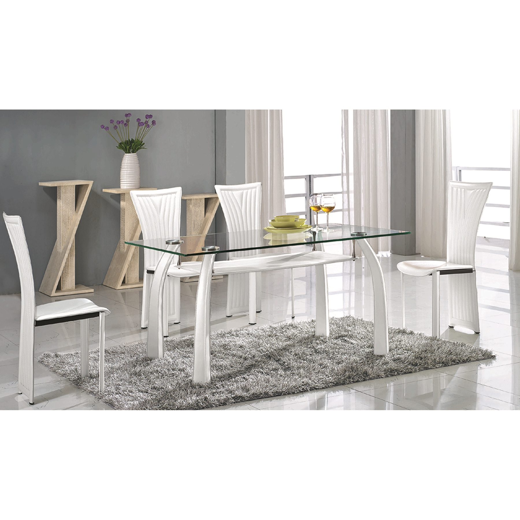 Ramona Dining Table - Clear Glass, White Base