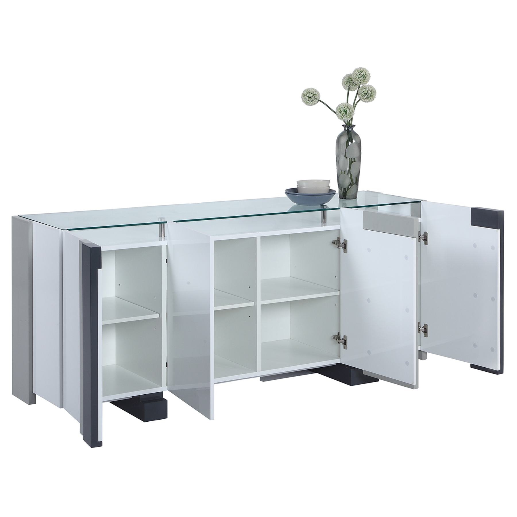 Shelley 4 Doors Buffet - Clear, Gloss White and Gray - CI-SHELLEY-BUF