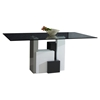 Shelley Rectangular Dining Table - Glass Top, White and Gray Base