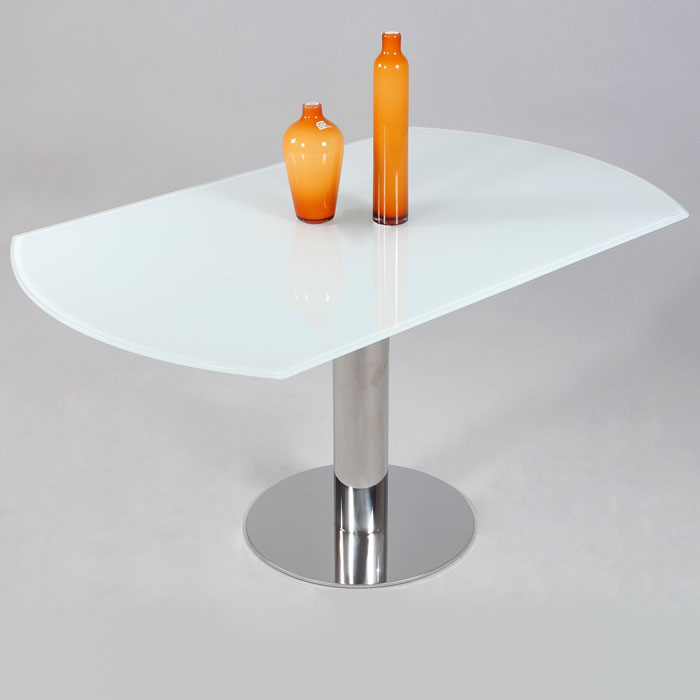 Tami Expanding Top Table - White Glass, Stainless Steel Base