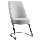 Tami Slight Concave Back Side Chair - White, Chrome (Set of 2)