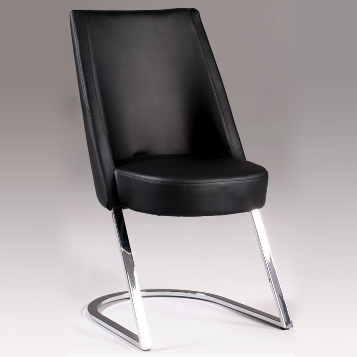 Tami Side Chair - Black, Chrome Cantilever Base