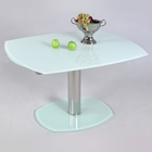 Tasha Contemporary Dining Table - White Glass, Extension Leaves