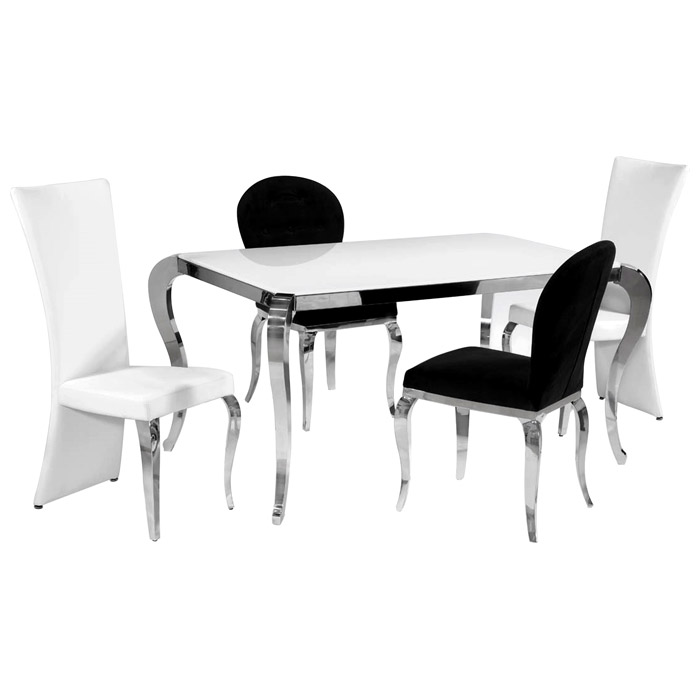 Teresa 5 Piece Contemporary Dining Set - White Glass Top - CI-TERESA-5-PC-SET