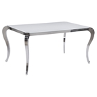 Teresa White Glass Dining Table - Cabriole Legs, Stainless Steel