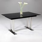 Tyler Extendable Dining Table - Black Glass Top, Trestle Base