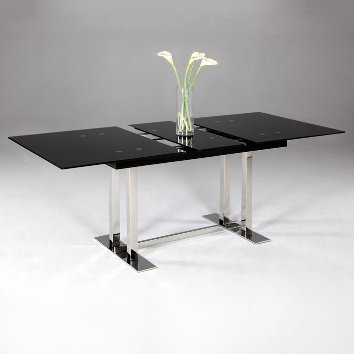 Tyler Extendable Dining Table - Black Glass Top, Trestle Base - CI-TYLER-DT