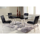 Tyler 5 Piece Dining Set - Extending Table, Black Glass