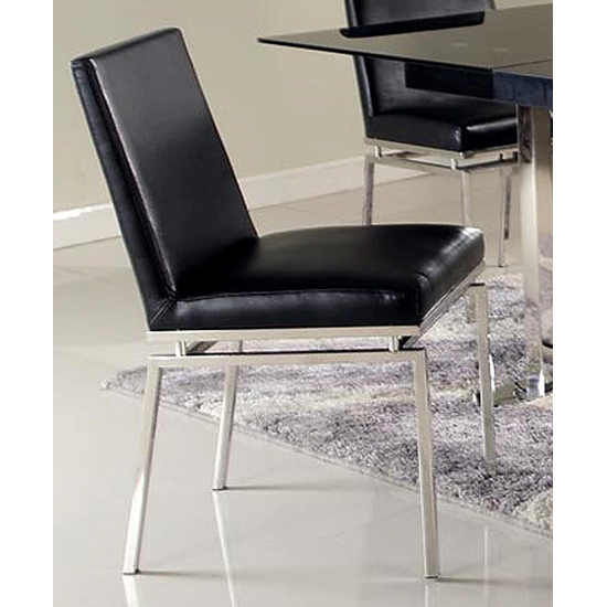 Tyler Contemporary Side Chair - Black, Stainless Steel Legs