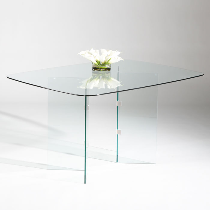 Denny Clear Glass Top with Split V Base