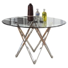 Vivian Rain Drop Top Dining Table - Clear Top, Shiny Stainless Steel