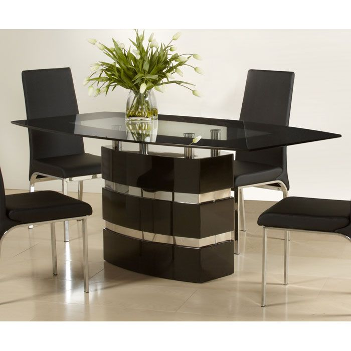 Xenia Boat-Shaped Glass Top Dining Table - CI-XENIA-DT