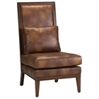 Abbott High Back Accent Chair in Chestnut Finish