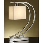 Chrome Metal Desk Lamp with White Fabric Shade