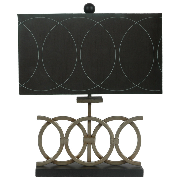 Circles Table Lamp with Black Fabric Shade