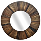 Dodge Small Round Mirror with Wood Frame