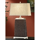 Rattan Table Lamp with Rectangular Shade